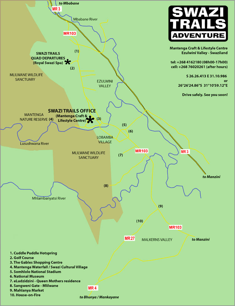 Map of ezulwini valley showing directions to swazi trails office and